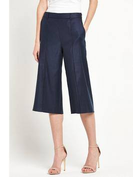 Sadippy Culotte - pattern: plain; pocket detail: pockets at the sides; waist: mid/regular rise; predominant colour: navy; occasions: casual, creative work; length: calf length; fit: wide leg; pattern type: fabric; texture group: woven light midweight; style: standard; fibres: linen - stretch; season: s/s 2016; wardrobe: basic