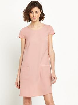 Acuty Shift Dress Pink - style: shift; neckline: round neck; pattern: plain; predominant colour: blush; occasions: evening; length: just above the knee; fit: body skimming; fibres: polyester/polyamide - 100%; sleeve length: short sleeve; sleeve style: standard; pattern type: fabric; texture group: other - light to midweight; season: s/s 2016; wardrobe: event