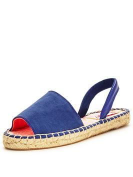 Maria Flat Espadrille Sandal - predominant colour: royal blue; occasions: casual, holiday; material: suede; heel height: flat; heel: block; toe: open toe/peeptoe; style: standard; finish: plain; pattern: plain; shoe detail: platform; season: s/s 2016; wardrobe: highlight