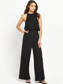 Petite Tiered Jersey Jumpsuit - length: standard; neckline: round neck; fit: fitted at waist; pattern: plain; sleeve style: sleeveless; waist detail: fitted waist; predominant colour: navy; occasions: evening, occasion; fibres: viscose/rayon - 100%; sleeve length: sleeveless; style: jumpsuit; pattern type: fabric; texture group: jersey - stretchy/drapey; season: s/s 2016; wardrobe: event