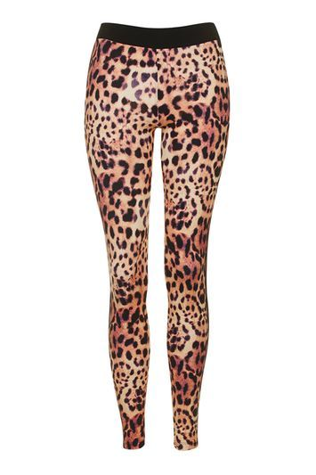 Leopard Print Leggings - length: standard; style: leggings; waist detail: elasticated waist; waist: high rise; predominant colour: camel; occasions: casual, activity; fibres: cotton - stretch; texture group: jersey - clingy; fit: skinny/tight leg; pattern type: fabric; pattern: animal print; pattern size: big & busy (bottom); season: s/s 2016