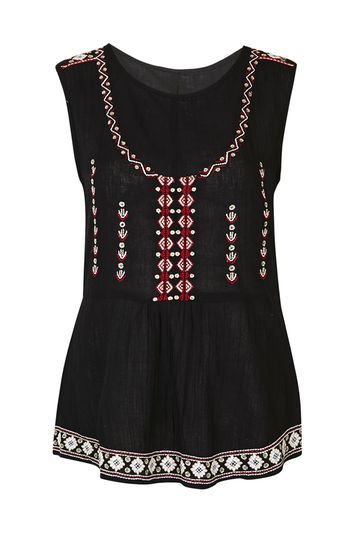 Embroidered Tunic Top By Glamorous - sleeve style: sleeveless; secondary colour: true red; predominant colour: black; occasions: casual; length: standard; style: top; neckline: scoop; fibres: polyester/polyamide - 100%; fit: body skimming; sleeve length: sleeveless; pattern type: fabric; pattern size: standard; pattern: patterned/print; texture group: other - light to midweight; embellishment: embroidered; season: s/s 2016; wardrobe: highlight; embellishment location: bust