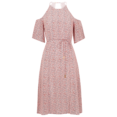 Double Dot Silk Dress, Pink - style: shift; length: below the knee; fit: tailored/fitted; waist detail: belted waist/tie at waist/drawstring; predominant colour: pink; occasions: casual, creative work; fibres: silk - 100%; shoulder detail: cut out shoulder; sleeve length: short sleeve; sleeve style: standard; texture group: silky - light; pattern type: fabric; pattern size: standard; pattern: patterned/print; season: s/s 2016; neckline: high halter neck