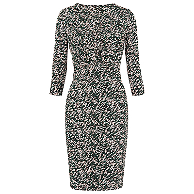 Ferrie Twist Front Dress, Multi - fit: tight; style: bodycon; secondary colour: white; predominant colour: black; occasions: evening; length: just above the knee; fibres: viscose/rayon - stretch; neckline: crew; sleeve length: 3/4 length; sleeve style: standard; texture group: jersey - clingy; pattern type: fabric; pattern: patterned/print; multicoloured: multicoloured; season: s/s 2016