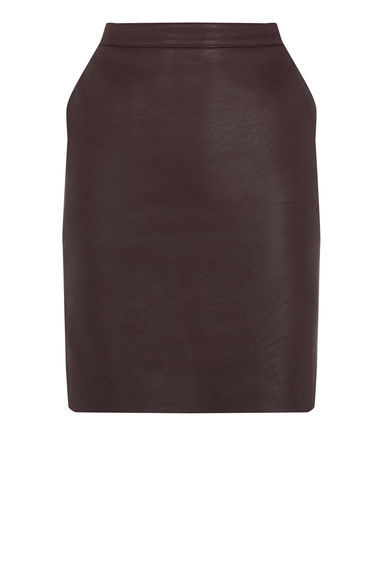 Faux Leather Clean Skirt - length: mid thigh; pattern: plain; style: straight; waist: high rise; predominant colour: chocolate brown; occasions: casual, creative work; texture group: leather; fit: straight cut; pattern type: fabric; fibres: pvc/polyurethene - 100%; season: s/s 2016; wardrobe: highlight