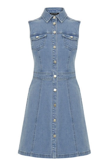 Sleeveless Fit And Flare Dress - neckline: shirt collar/peter pan/zip with opening; pattern: plain; sleeve style: sleeveless; hip detail: draws attention to hips; predominant colour: denim; occasions: casual; length: just above the knee; fit: fitted at waist & bust; style: fit & flare; fibres: cotton - 100%; sleeve length: sleeveless; texture group: denim; pattern type: fabric; season: s/s 2016; wardrobe: basic