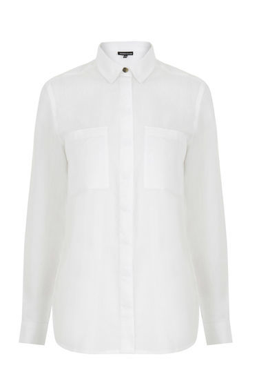 Relaxed Curved Hem Shirt - neckline: shirt collar/peter pan/zip with opening; pattern: plain; style: shirt; predominant colour: white; occasions: work; length: standard; fibres: cotton - 100%; fit: body skimming; sleeve length: long sleeve; sleeve style: standard; texture group: cotton feel fabrics; pattern type: fabric; season: s/s 2016; wardrobe: basic