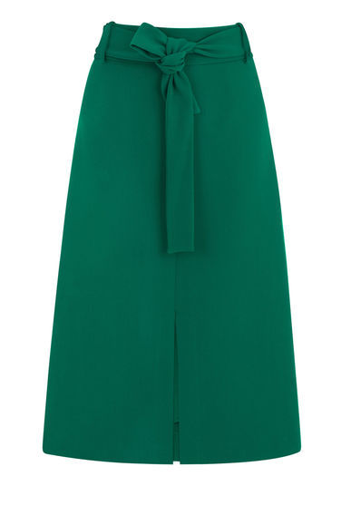 Belted Midi Skirt - length: below the knee; pattern: plain; fit: loose/voluminous; waist: high rise; predominant colour: emerald green; occasions: casual, creative work; style: a-line; fibres: polyester/polyamide - mix; pattern type: fabric; texture group: other - light to midweight; season: s/s 2016; wardrobe: highlight