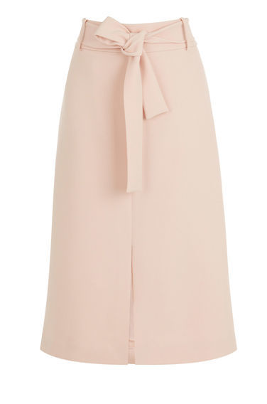 Belted Midi Skirt - length: below the knee; pattern: plain; fit: loose/voluminous; waist: high rise; waist detail: belted waist/tie at waist/drawstring; predominant colour: blush; style: a-line; fibres: polyester/polyamide - 100%; hip detail: slits at hip; texture group: crepes; pattern type: fabric; occasions: creative work; season: s/s 2016; wardrobe: basic