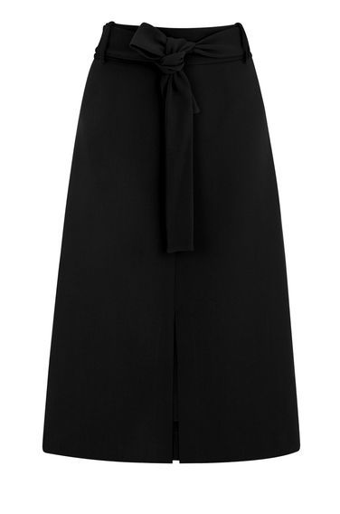 Belted Midi Skirt - length: below the knee; pattern: plain; fit: loose/voluminous; waist: high rise; waist detail: belted waist/tie at waist/drawstring; predominant colour: black; style: a-line; fibres: polyester/polyamide - 100%; texture group: crepes; pattern type: fabric; occasions: creative work; season: s/s 2016; wardrobe: basic