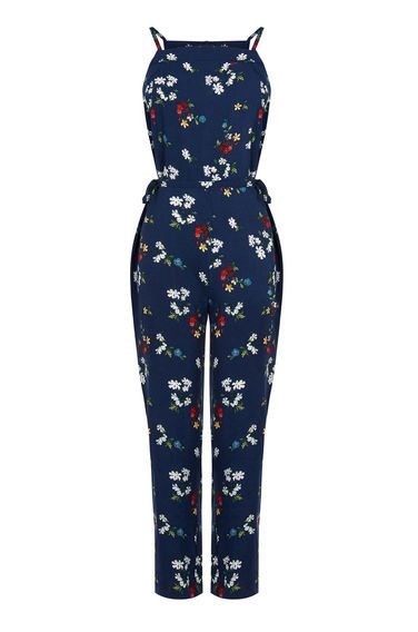 Spaced Floral Jumpsuit - length: standard; neckline: v-neck; sleeve style: spaghetti straps; secondary colour: white; predominant colour: navy; occasions: casual; fit: body skimming; fibres: viscose/rayon - 100%; sleeve length: sleeveless; style: jumpsuit; pattern type: fabric; pattern: florals; texture group: jersey - stretchy/drapey; multicoloured: multicoloured; season: s/s 2016; wardrobe: highlight