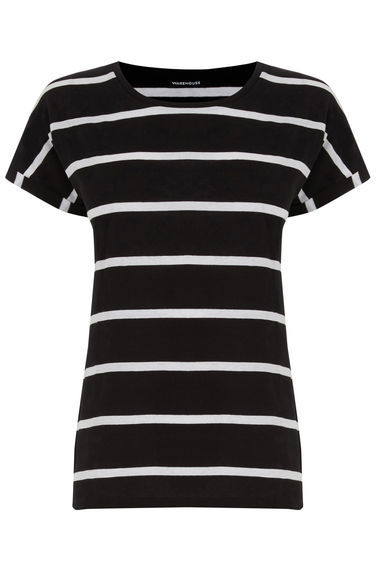Block Stripe Tee - neckline: round neck; pattern: horizontal stripes; style: t-shirt; secondary colour: white; predominant colour: black; occasions: casual; length: standard; fibres: cotton - 100%; fit: body skimming; sleeve length: short sleeve; sleeve style: standard; pattern type: fabric; pattern size: standard; texture group: jersey - stretchy/drapey; season: s/s 2016; wardrobe: basic