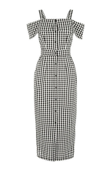 Gingham Off Shoulder Dress - length: below the knee; neckline: off the shoulder; sleeve style: capped; fit: tailored/fitted; style: sundress; pattern: checked/gingham; hip detail: draws attention to hips; secondary colour: white; predominant colour: black; occasions: casual; fibres: polyester/polyamide - mix; sleeve length: short sleeve; pattern type: fabric; texture group: other - light to midweight; multicoloured: multicoloured; season: s/s 2016; wardrobe: highlight