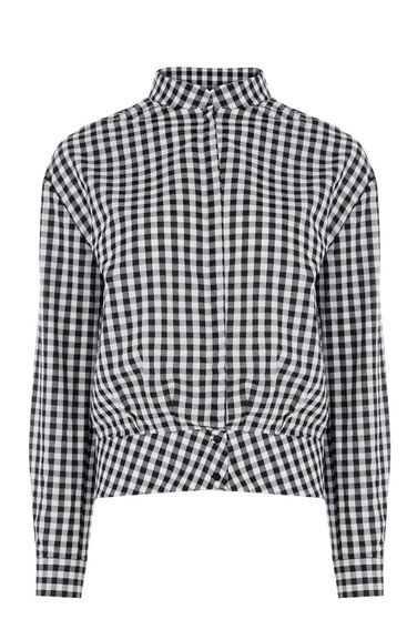 Gingham Blouson Blouse - pattern: checked/gingham; style: blouse; secondary colour: white; predominant colour: black; occasions: casual; length: standard; neckline: collarstand; fibres: cotton - 100%; fit: straight cut; sleeve length: long sleeve; sleeve style: standard; trends: monochrome; texture group: cotton feel fabrics; pattern type: fabric; pattern size: standard; season: s/s 2016; wardrobe: highlight