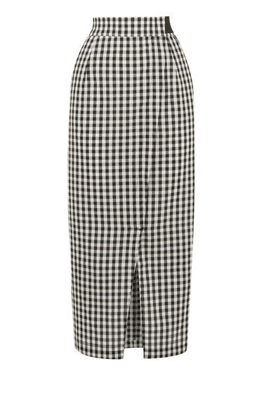 Gingham Wrap Skirt - length: below the knee; pattern: checked/gingham; style: pencil; fit: tailored/fitted; waist: high rise; hip detail: draws attention to hips; secondary colour: white; predominant colour: black; fibres: cotton - 100%; waist detail: feature waist detail; trends: monochrome; texture group: cotton feel fabrics; pattern type: fabric; occasions: creative work; pattern size: standard (bottom); season: s/s 2016; wardrobe: highlight