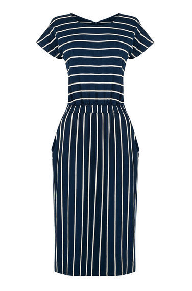 Stripe T Shirt Dress - length: calf length; pattern: striped; secondary colour: white; predominant colour: navy; occasions: evening; fit: fitted at waist & bust; style: fit & flare; fibres: viscose/rayon - stretch; neckline: crew; sleeve length: short sleeve; sleeve style: standard; pattern type: fabric; texture group: jersey - stretchy/drapey; multicoloured: multicoloured; season: s/s 2016