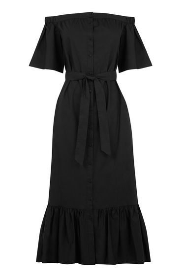 Cotton Off Shoulder Midi Dress - style: shift; length: below the knee; neckline: off the shoulder; pattern: plain; waist detail: belted waist/tie at waist/drawstring; predominant colour: black; occasions: casual; fit: body skimming; fibres: cotton - 100%; sleeve length: short sleeve; sleeve style: standard; pattern type: fabric; texture group: other - light to midweight; season: s/s 2016; wardrobe: highlight