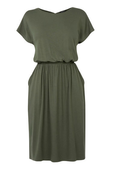 T Shirt Dress - style: t-shirt; pattern: plain; predominant colour: khaki; occasions: casual; length: just above the knee; fit: body skimming; fibres: viscose/rayon - 100%; neckline: crew; sleeve length: short sleeve; sleeve style: standard; pattern type: fabric; texture group: jersey - stretchy/drapey; season: s/s 2016; wardrobe: basic