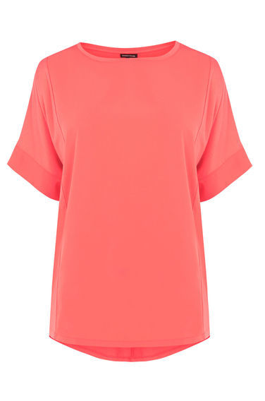Plain Panel Top - sleeve style: dolman/batwing; pattern: plain; style: t-shirt; predominant colour: coral; occasions: casual, creative work; length: standard; fibres: polyester/polyamide - stretch; fit: straight cut; neckline: crew; sleeve length: short sleeve; pattern type: fabric; texture group: jersey - stretchy/drapey; season: s/s 2016; wardrobe: highlight
