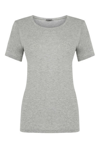 Classic Tee - style: t-shirt; predominant colour: mid grey; occasions: casual; length: standard; fibres: cotton - stretch; fit: body skimming; neckline: crew; sleeve length: short sleeve; sleeve style: standard; texture group: jersey - clingy; pattern type: fabric; pattern size: light/subtle; pattern: marl; season: s/s 2016; wardrobe: basic
