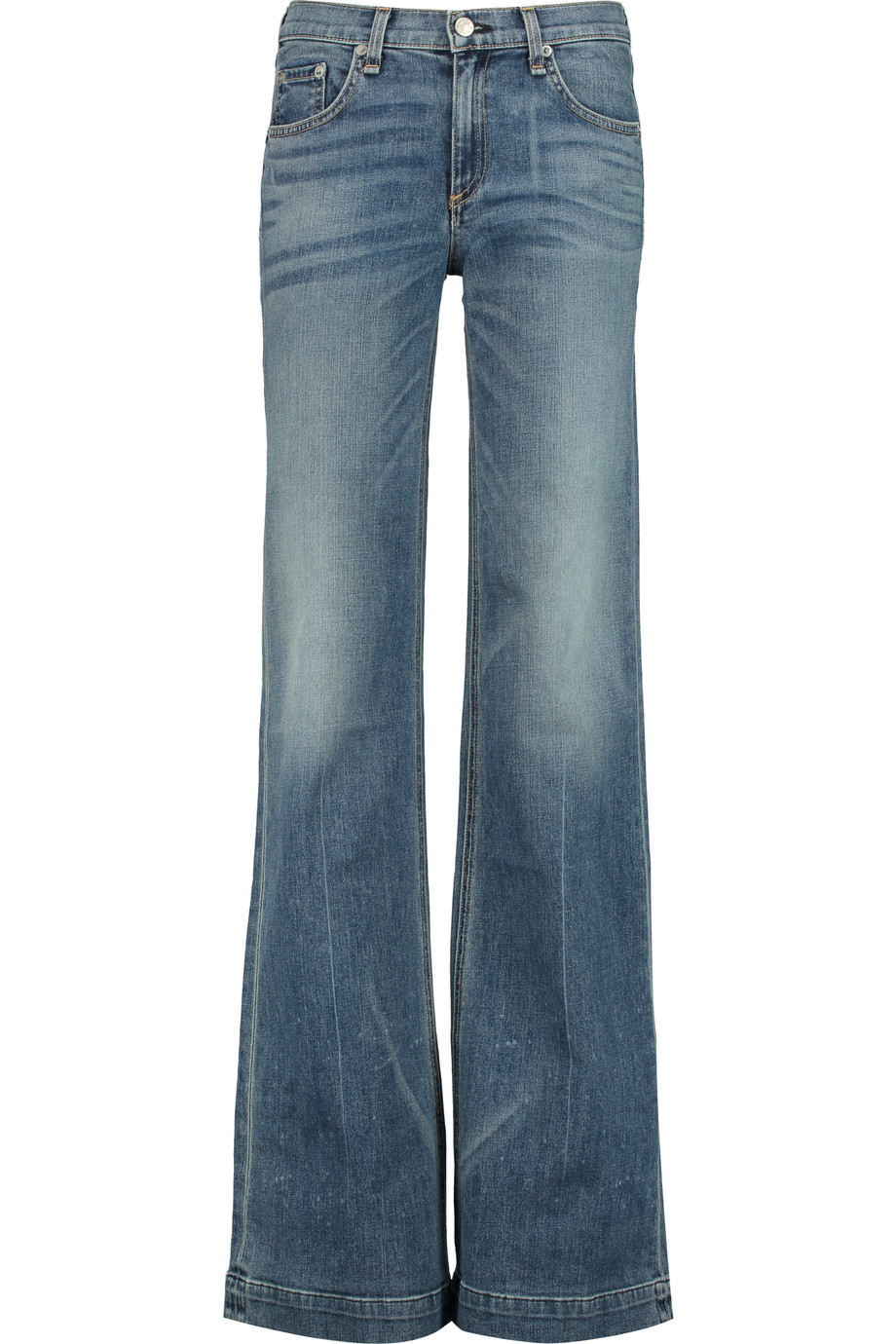 Low Rise Flared Jeans Mid Denim - style: flares; length: standard; pattern: plain; pocket detail: traditional 5 pocket; waist: mid/regular rise; predominant colour: denim; occasions: casual; fibres: cotton - stretch; jeans detail: whiskering, washed/faded; texture group: denim; pattern type: fabric; season: s/s 2016; wardrobe: basic