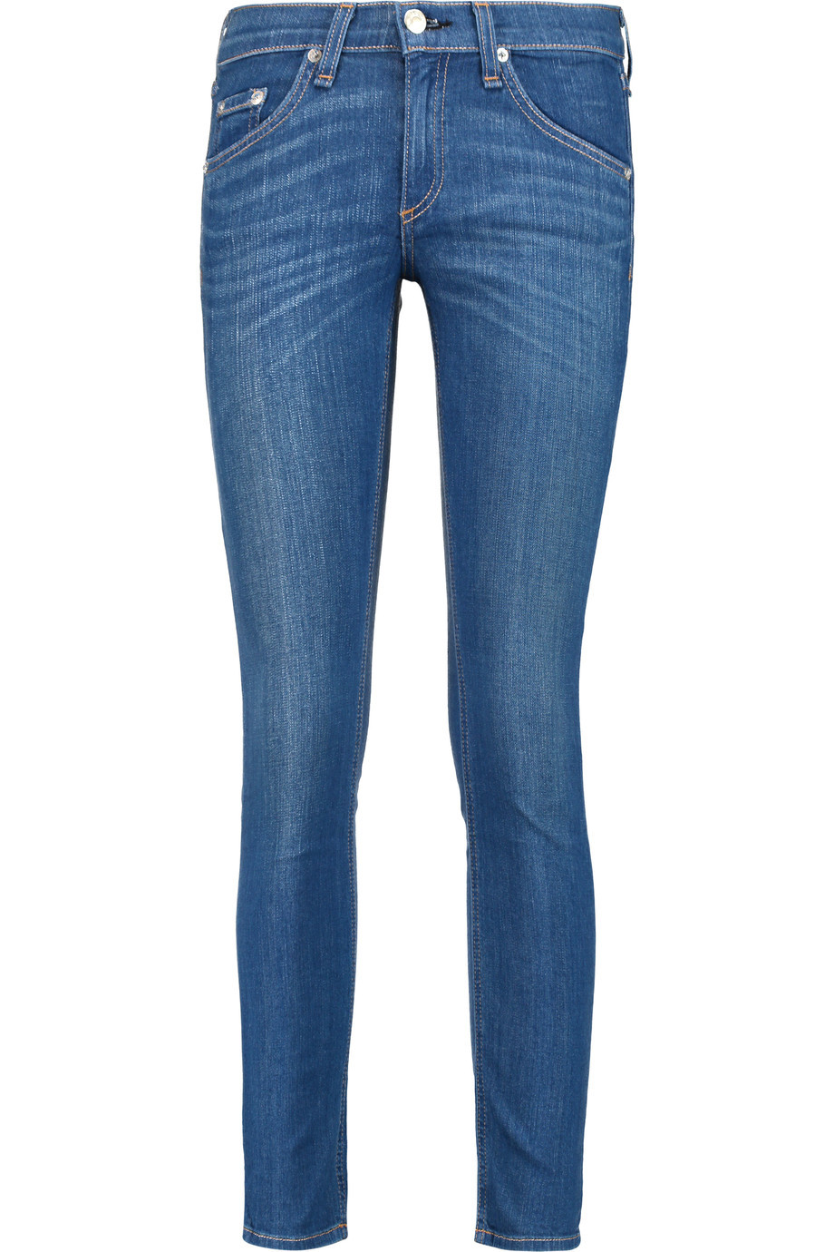 Capri Low Rise Skinny Jeans Dark Denim - style: skinny leg; length: standard; pattern: plain; pocket detail: traditional 5 pocket; waist: mid/regular rise; predominant colour: denim; occasions: casual; fibres: cotton - stretch; jeans detail: whiskering; texture group: denim; pattern type: fabric; season: s/s 2016; wardrobe: basic