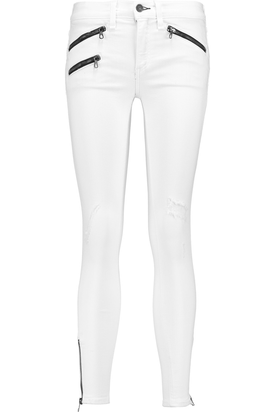 Distressed Low Rise Skinny Jeans White - style: skinny leg; length: standard; pattern: plain; waist: low rise; predominant colour: white; occasions: casual, evening, creative work; fibres: cotton - stretch; texture group: denim; pattern type: fabric; embellishment: zips; season: s/s 2016; wardrobe: highlight; embellishment location: hem
