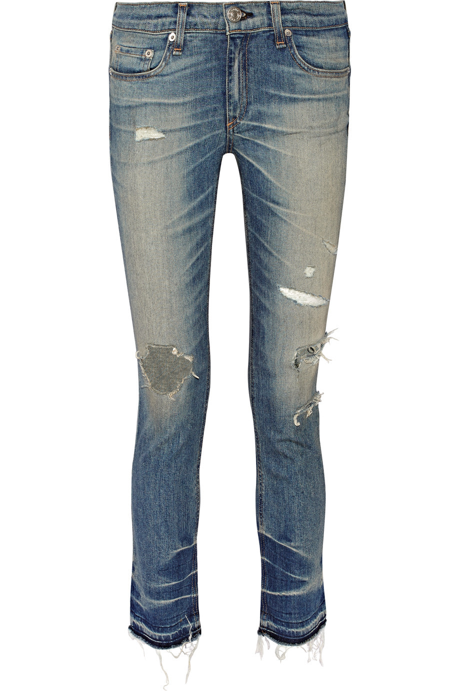 Distressed Mid Rise Skinny Jeans Mid Denim - style: skinny leg; length: standard; pattern: plain; pocket detail: traditional 5 pocket; waist: mid/regular rise; predominant colour: denim; occasions: casual; fibres: cotton - stretch; jeans detail: whiskering, shading down centre of thigh, rips; texture group: denim; pattern type: fabric; season: s/s 2016; wardrobe: basic