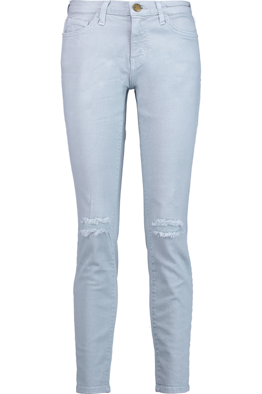 The Stiletto Distressed Mid Rise Skinny Jeans Sky Blue - style: skinny leg; length: standard; pattern: plain; pocket detail: traditional 5 pocket; waist: mid/regular rise; predominant colour: pale blue; occasions: casual; fibres: cotton - stretch; texture group: denim; pattern type: fabric; jeans detail: rips; season: s/s 2016; wardrobe: basic