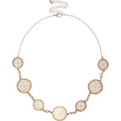 Womens Gold Tone Circle Filigree Necklace - predominant colour: gold; occasions: evening, occasion; style: choker/collar/torque; length: short; size: large/oversized; material: chain/metal; finish: plain; embellishment: crystals/glass; season: s/s 2016; wardrobe: event