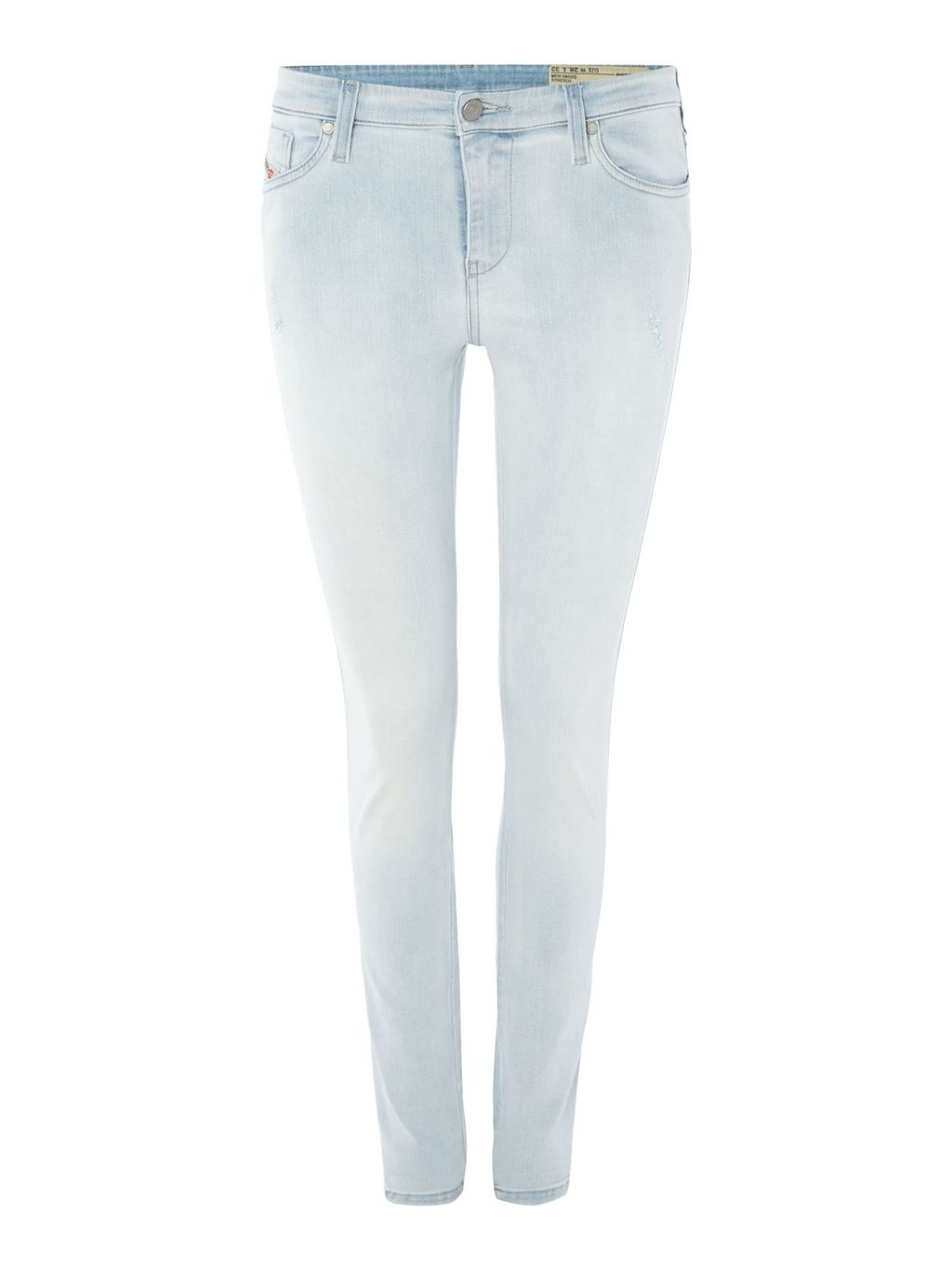 Skinzee 0852 Q Skinny Jeans, Blue - style: skinny leg; length: standard; pattern: plain; pocket detail: traditional 5 pocket; waist: mid/regular rise; predominant colour: pale blue; occasions: casual; fibres: cotton - stretch; texture group: denim; pattern type: fabric; season: s/s 2016