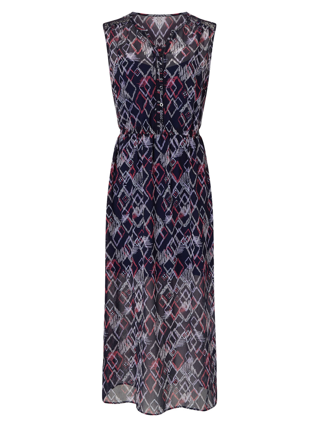 Diamond Print Dress - style: shift; length: calf length; neckline: v-neck; sleeve style: sleeveless; waist detail: belted waist/tie at waist/drawstring; secondary colour: light grey; predominant colour: black; occasions: evening; fit: body skimming; fibres: cotton - stretch; sleeve length: sleeveless; texture group: sheer fabrics/chiffon/organza etc.; pattern type: fabric; pattern: patterned/print; multicoloured: multicoloured; season: s/s 2016; wardrobe: event