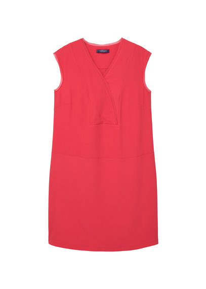 Flowy Dress - style: shift; neckline: v-neck; pattern: plain; sleeve style: sleeveless; predominant colour: hot pink; occasions: evening, creative work; length: just above the knee; fit: straight cut; fibres: polyester/polyamide - stretch; sleeve length: sleeveless; pattern type: fabric; texture group: woven light midweight; season: s/s 2016