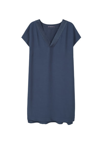Satin Panel Dress - style: tunic; neckline: v-neck; pattern: plain; predominant colour: navy; occasions: casual; length: on the knee; fit: body skimming; fibres: viscose/rayon - 100%; sleeve length: short sleeve; sleeve style: standard; pattern type: fabric; texture group: other - light to midweight; season: s/s 2016; wardrobe: basic