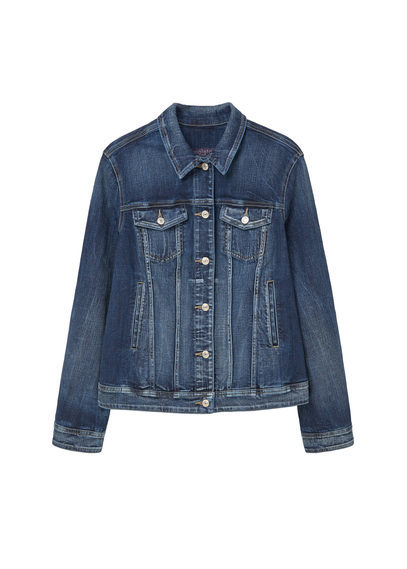 Dark Wash Denim Jacket - pattern: plain; style: denim; fit: slim fit; predominant colour: navy; occasions: casual, creative work; length: standard; fibres: cotton - stretch; collar: shirt collar/peter pan/zip with opening; sleeve length: long sleeve; sleeve style: standard; texture group: denim; collar break: high/illusion of break when open; pattern type: fabric; season: s/s 2016; wardrobe: basic