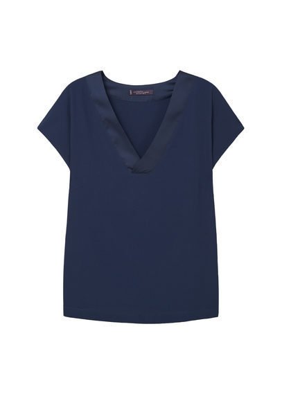 Flowy Blouse - neckline: v-neck; pattern: plain; predominant colour: navy; occasions: casual; length: standard; style: top; fibres: polyester/polyamide - stretch; fit: body skimming; sleeve length: short sleeve; sleeve style: standard; pattern type: fabric; texture group: other - light to midweight; season: s/s 2016; wardrobe: basic