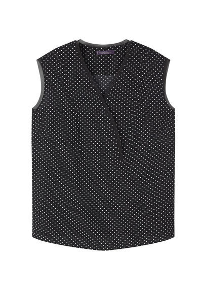Flowy Printed Blouse - neckline: v-neck; sleeve style: sleeveless; style: blouse; pattern: polka dot; secondary colour: white; predominant colour: black; occasions: casual; length: standard; fibres: polyester/polyamide - stretch; fit: body skimming; sleeve length: sleeveless; pattern type: fabric; texture group: other - light to midweight; season: s/s 2016