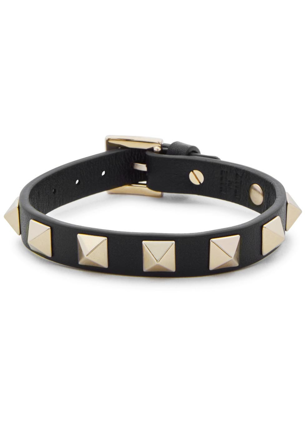 Rockstud Black Leather Bracelet - secondary colour: gold; predominant colour: black; occasions: casual, creative work; style: bangle/standard; size: standard; material: leather; finish: plain; embellishment: studs; season: s/s 2016; wardrobe: highlight