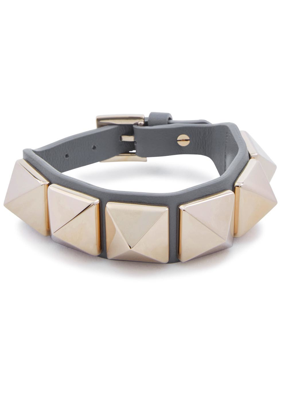 Rockstud Grey Leather Bracelet - secondary colour: gold; predominant colour: mid grey; occasions: casual, creative work; style: bangle/standard; size: standard; material: leather; finish: plain; embellishment: studs; season: s/s 2016; wardrobe: highlight