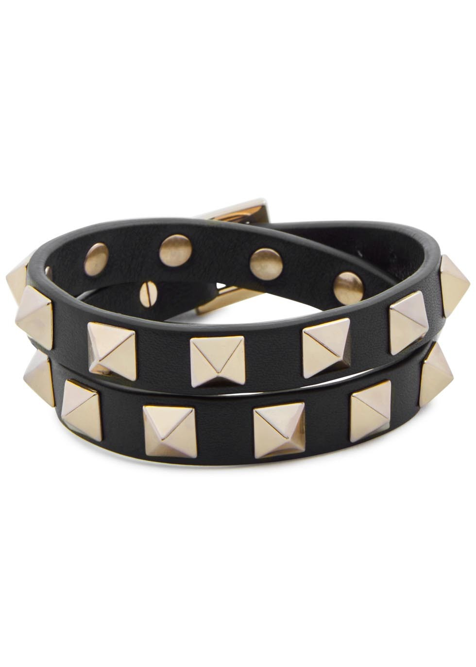 Rockstud Double Black Leather Bracelet - secondary colour: gold; predominant colour: black; occasions: casual, creative work; style: buckle/wrap; size: large/oversized; material: leather; finish: plain; embellishment: studs; season: s/s 2016; wardrobe: highlight