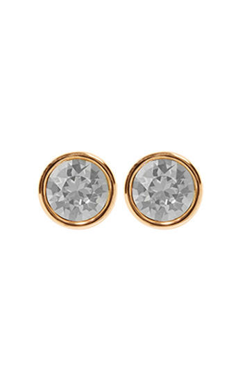 Logo Stud Earrings - predominant colour: gold; occasions: evening, occasion; style: stud; length: short; size: small/fine; material: chain/metal; fastening: pierced; finish: metallic; embellishment: crystals/glass; secondary colour: clear; season: s/s 2016; wardrobe: event