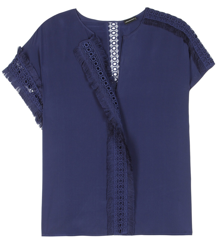 Soffia Silk Blouse - neckline: round neck; sleeve style: capped; pattern: plain; style: blouse; predominant colour: navy; occasions: casual, creative work; length: standard; fibres: silk - 100%; fit: straight cut; sleeve length: short sleeve; texture group: silky - light; pattern type: fabric; season: s/s 2016; wardrobe: basic