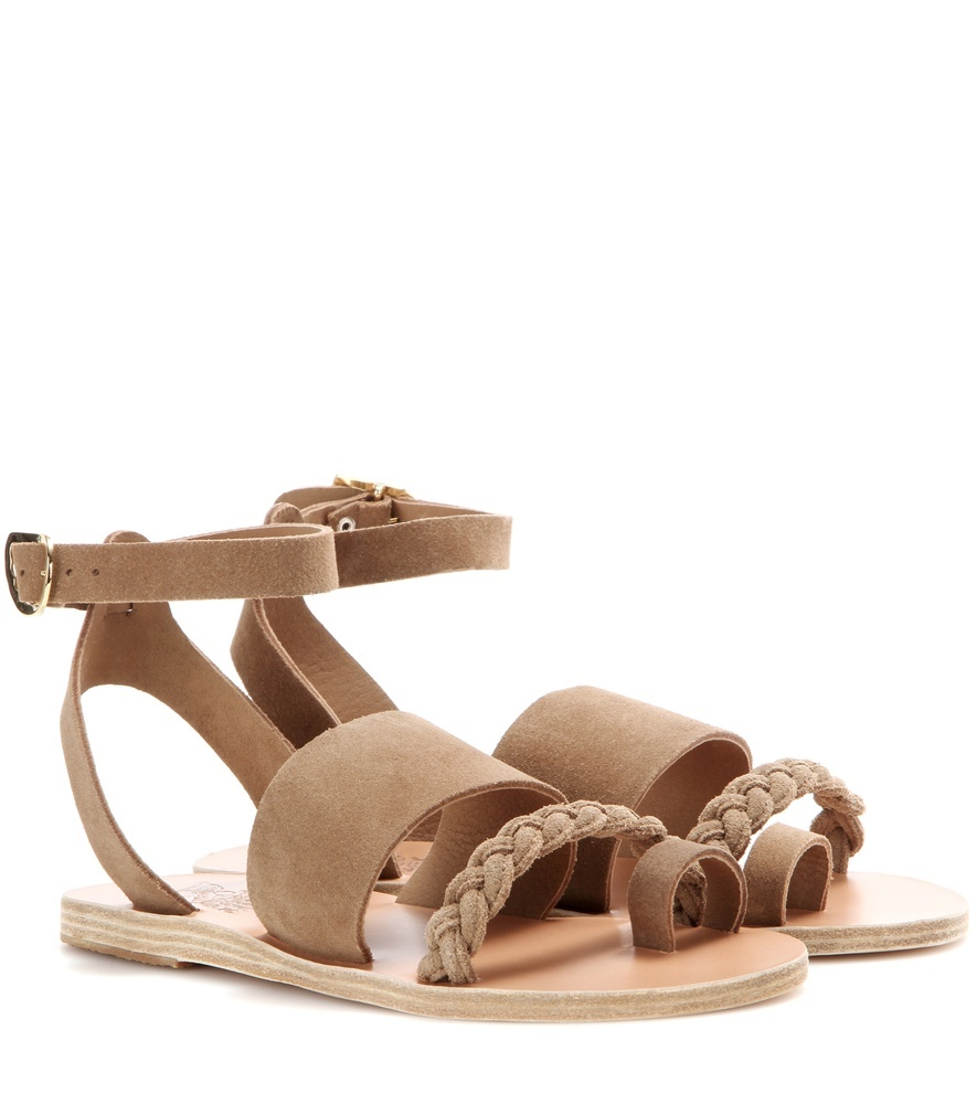 Agni Suede Sandals - predominant colour: camel; occasions: casual, holiday; material: suede; heel height: flat; ankle detail: ankle strap; heel: block; toe: open toe/peeptoe; style: strappy; finish: plain; pattern: plain; season: s/s 2016; wardrobe: basic