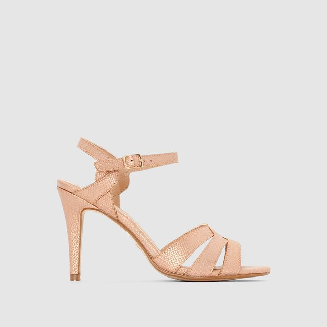 314668 S10239 B High Heeled Open Toe Sandals - predominant colour: nude; occasions: occasion; material: faux leather; heel height: high; heel: standard; toe: open toe/peeptoe; style: strappy; finish: plain; pattern: plain; season: s/s 2016