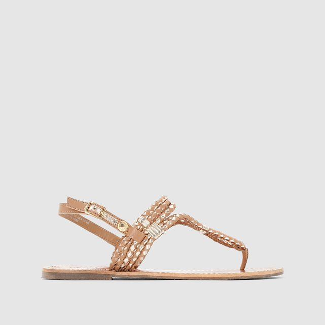 Jane Woven Metallic Toe Post Sandals - predominant colour: blush; occasions: casual; material: leather; heel height: flat; embellishment: beading; heel: standard; toe: toe thongs; style: standard; finish: plain; pattern: plain; season: s/s 2016; wardrobe: highlight