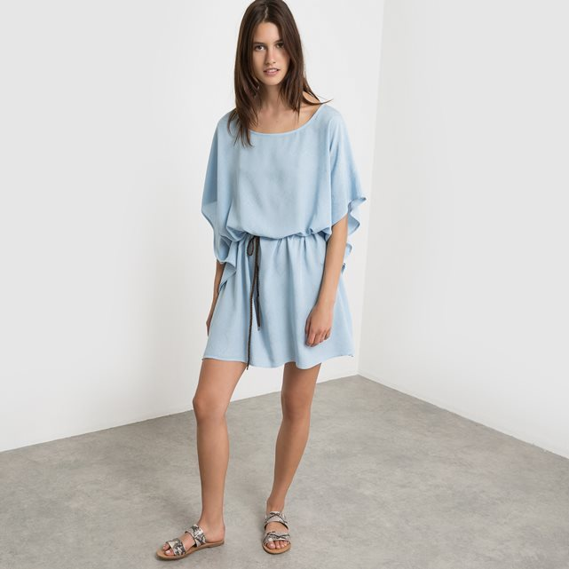 Visimu Batwing Sleeve Dress - style: smock; length: mid thigh; neckline: round neck; sleeve style: dolman/batwing; fit: loose; pattern: plain; waist detail: belted waist/tie at waist/drawstring; predominant colour: pale blue; occasions: casual; fibres: viscose/rayon - 100%; sleeve length: half sleeve; pattern type: fabric; texture group: other - light to midweight; season: s/s 2016; wardrobe: highlight