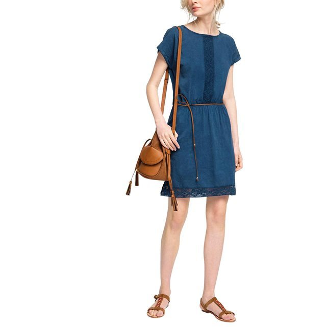 Jersey Tie Front Dress - style: shift; pattern: plain; waist detail: belted waist/tie at waist/drawstring; predominant colour: navy; occasions: casual; length: just above the knee; fit: body skimming; fibres: cotton - 100%; neckline: crew; sleeve length: short sleeve; sleeve style: standard; pattern type: fabric; texture group: jersey - stretchy/drapey; season: s/s 2016; wardrobe: basic