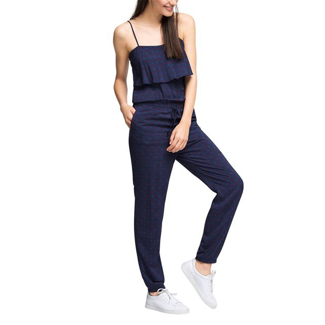 Jumpsuit - length: standard; sleeve style: spaghetti straps; fit: tailored/fitted; pattern: plain; predominant colour: navy; occasions: casual, holiday; fibres: viscose/rayon - 100%; sleeve length: sleeveless; texture group: jersey - clingy; style: jumpsuit; neckline: low square neck; bust detail: bulky details at bust; pattern type: fabric; season: s/s 2016; wardrobe: holiday