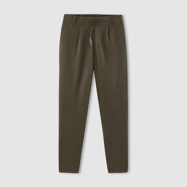 Summer Linen Pants With Pockets - length: standard; pattern: plain; style: peg leg; waist detail: belted waist/tie at waist/drawstring; waist: mid/regular rise; predominant colour: khaki; occasions: casual, creative work; fibres: linen - 100%; texture group: linen; fit: tapered; pattern type: fabric; season: s/s 2016; wardrobe: basic