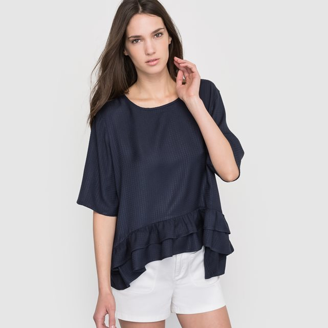 Blouse With 3/4 Length Sleeves - neckline: round neck; pattern: plain; style: blouse; predominant colour: navy; occasions: casual, creative work; length: standard; fibres: viscose/rayon - 100%; fit: loose; sleeve length: half sleeve; sleeve style: standard; texture group: sheer fabrics/chiffon/organza etc.; hip detail: ruffles/tiers/tie detail at hip; pattern type: fabric; season: s/s 2016; wardrobe: highlight